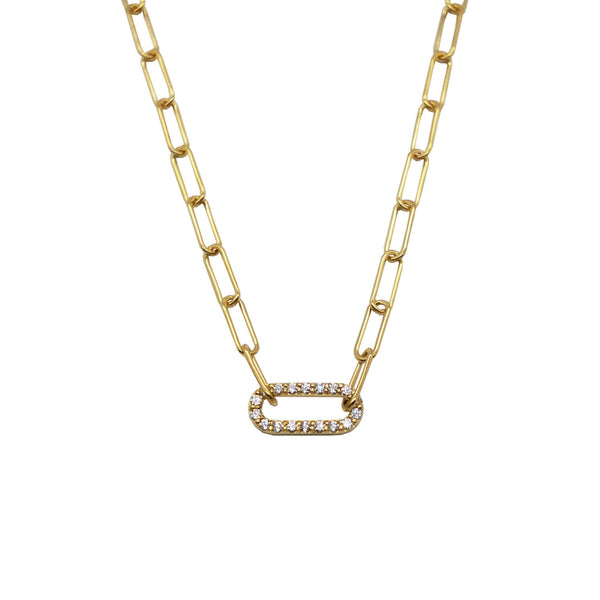 Pawnshop Gold Plated Sterling Silver Oval Pave Link Necklace with CZ clear stones, white background.