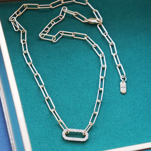 PAWNSHOP GOLD PLATED STERLING SILVER PAVE LINK NECKLACE