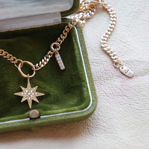 PAWNSHOP GOLD PLATED STERLING SILVER STARBURST CHARM NECKLACE