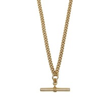 Load image into Gallery viewer, Close up of Pawnshop gold plated sterling silver T bar necklace. Curb chain detail with a T bar charm feature.