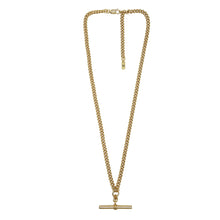 Load image into Gallery viewer, Zoomed out view of Pawnshop gold plated sterling silver T bar necklace. Curb chain detail with a T bar charm feature.