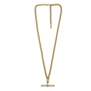 Zoomed out view of Pawnshop gold plated sterling silver T bar necklace. Curb chain detail with a T bar charm feature.