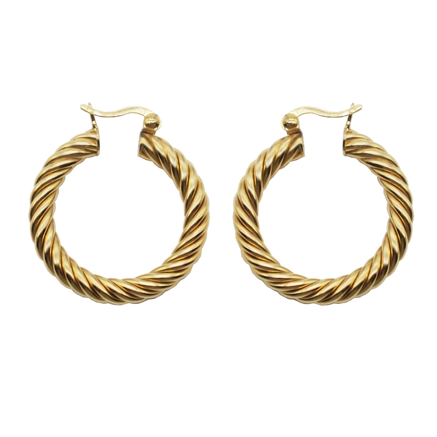 PAWNSHOP GOLD PLATED STERLING SILVER TWISTED HOOPS WITH A WHITE BACKGROUND