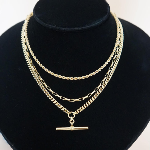 PAWNSHOP GOLD PLATED STERLING SILVER T BAR NECKLACE