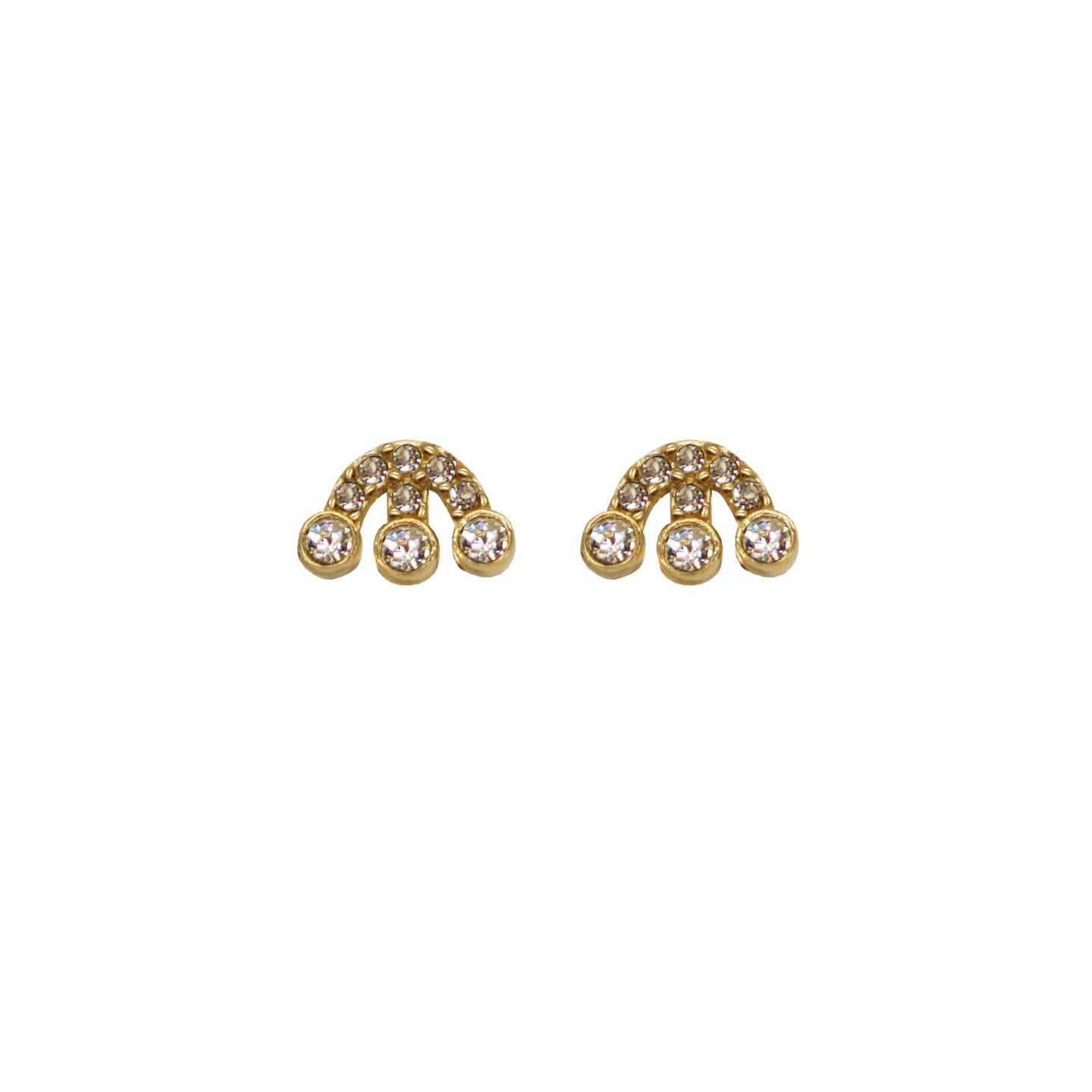 Pair of Pawnshop Gold Plated Sterling Silver Logo Stud earrings with CZ stones on a white background