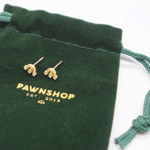 Load image into Gallery viewer, PAWNSHOP GOLD PLATED STERLING SILVER LOGO STUD EARRINGS