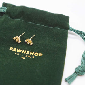 PAWNSHOP GOLD PLATED STERLING SILVER LOGO STUD EARRINGS