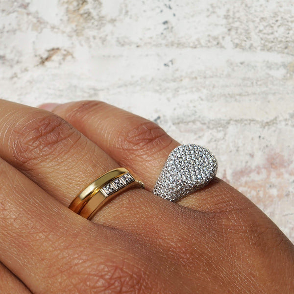 PAWNSHOP STERLING SILVER PAVE PINKY RING