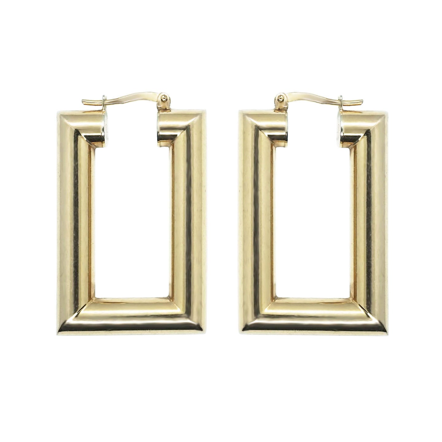 Close up pair Pawnshop Gold Plated Sterling Silver Large Rectangle Hoop Earrings, hinge closure. White background.