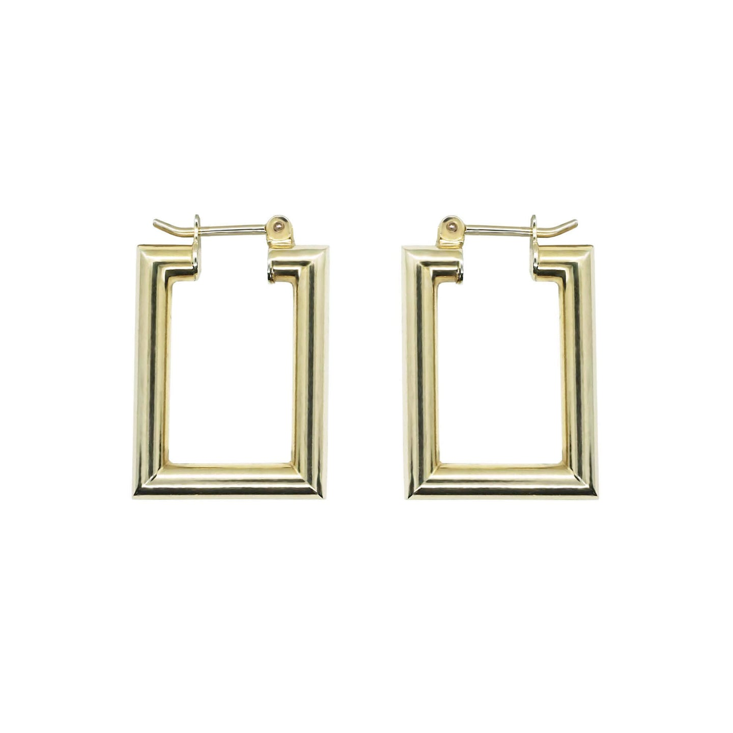 Pair of Pawnshop Gold Plated Sterling Silver Small Rectangle Hoop Earrings, hinge closure, white background.