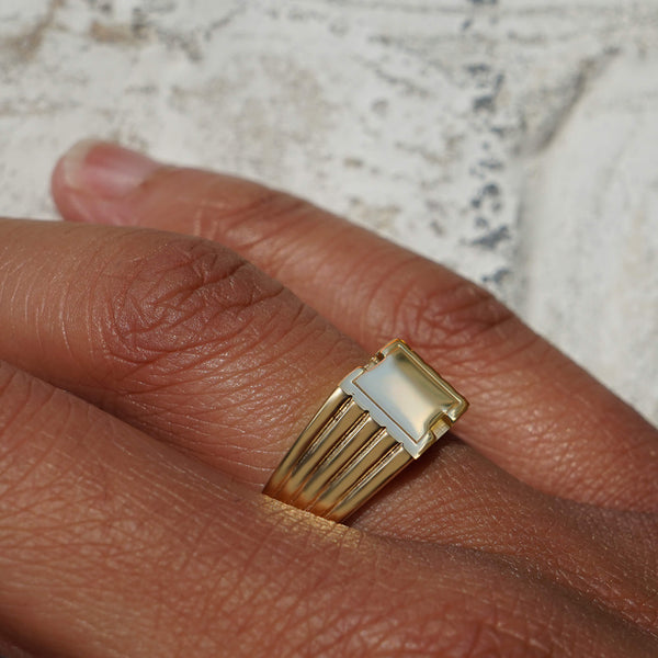 PAWNSHOP GOLD PLATED STERLING SILVER SQUARE SIGNET RING