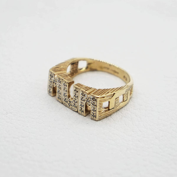 Side view of Vintage Pave Mum Ring- capital letters- side chain style solid band