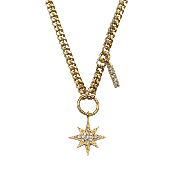 Pawnshop Gold Plated Sterling Silver Starburst Charm Necklace- with CZ stone set star & bar charms. White background.