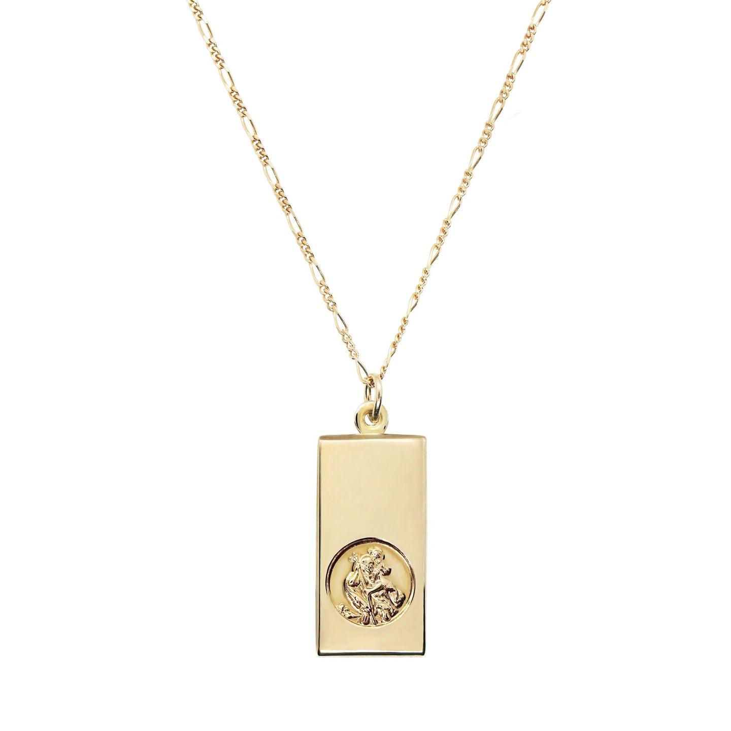 close up of 9K gold st christopher ingot necklace on a white background