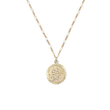 Load image into Gallery viewer, close up product shot of 9K gold st christopher coin necklace on a white background.