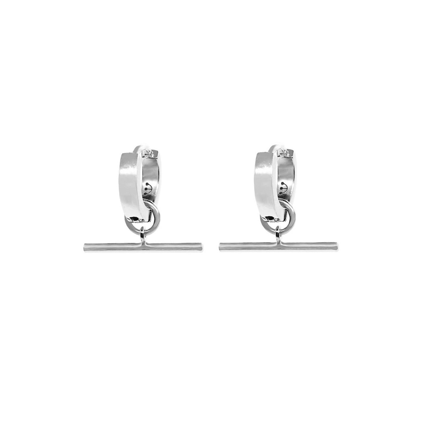 PAWNSHOP STERLING SILVER T BAR HOOP EARRINGS