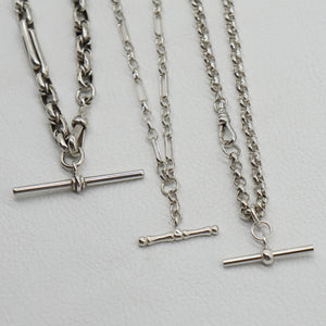 VINTAGE SILVER T-BAR CLASSIC BELCHER CHAIN NECKLACE