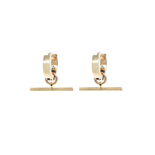 Load image into Gallery viewer, Pair of small chunky pawnshop gold plated sterling silver hoop earrings with T Bar Charm. Pawnshop 3 ball logo in black on inner hoops. Shot on a white background.