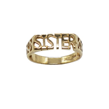 Load image into Gallery viewer, Vintage 9K Gold Sister Ring- letters in capital, open trellis sides, hallmarks visible on inner band. White background.