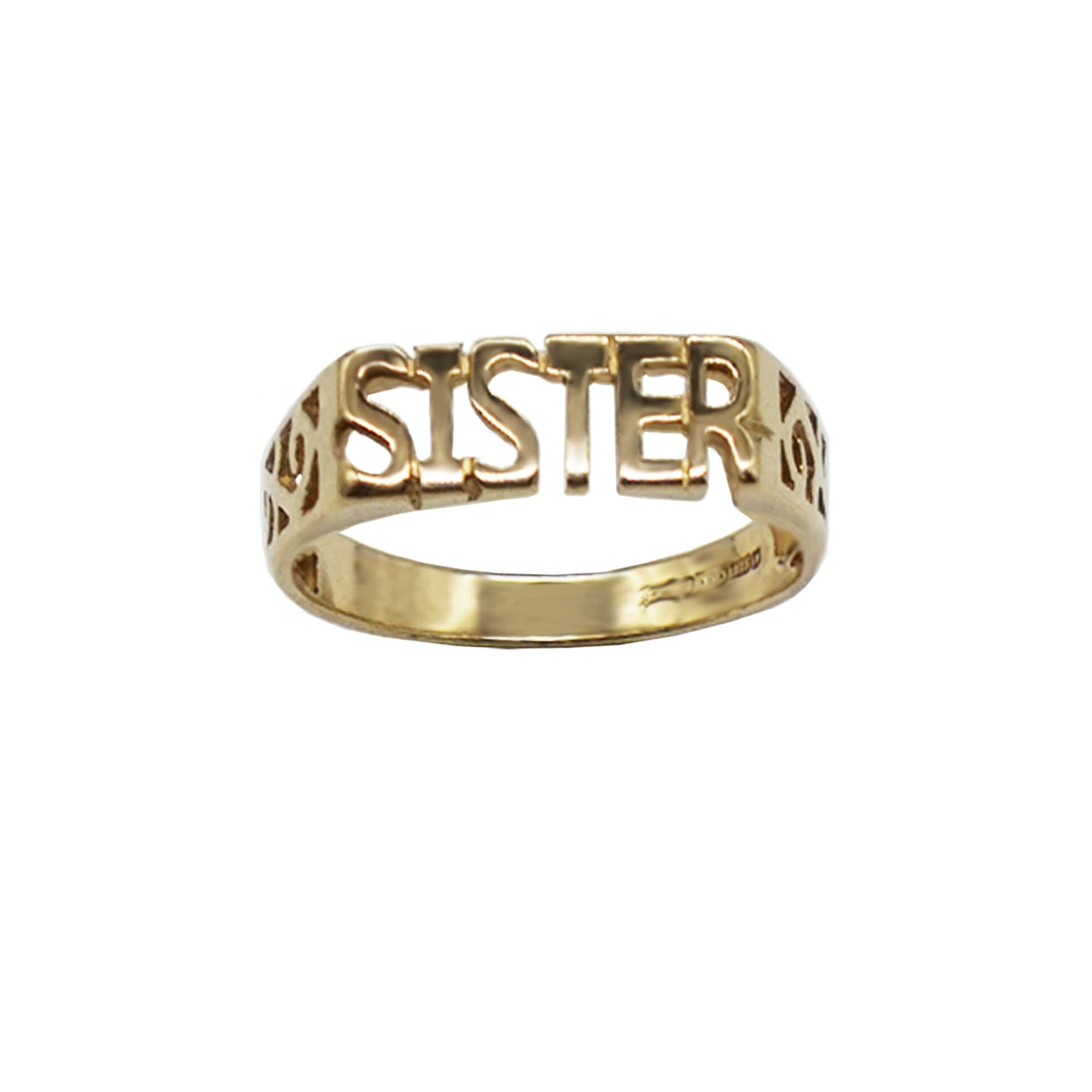 Vintage 9K Gold Sister Ring- letters in capital, open trellis sides, hallmarks visible on inner band. White background.