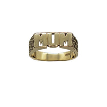Load image into Gallery viewer, Vintage 9K Gold MUM ring in capitals, with Geo side details, hallmarks can be seen on inner band. Background white.