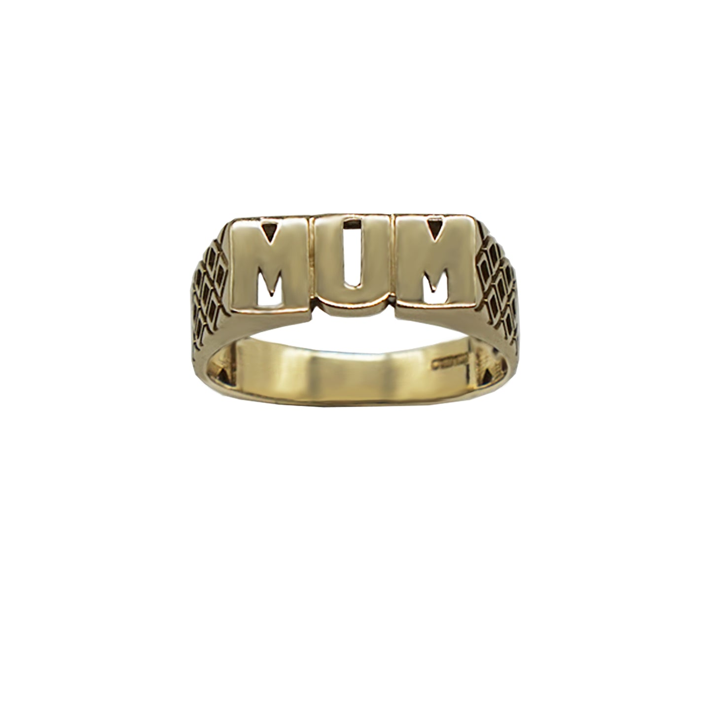 Vintage 9K Gold MUM ring in capitals, with Geo side details, hallmarks can be seen on inner band. Background white.