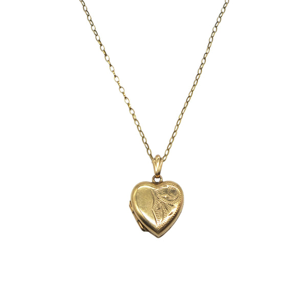 Vintage 9K Gold 70s Heart Locket Necklace- Patterned on the front of the locket, light chain. White background.