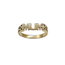 Load image into Gallery viewer, Vintage Mum Ring with small Diamond and trellis sides, hallmarks on inner band. White background.