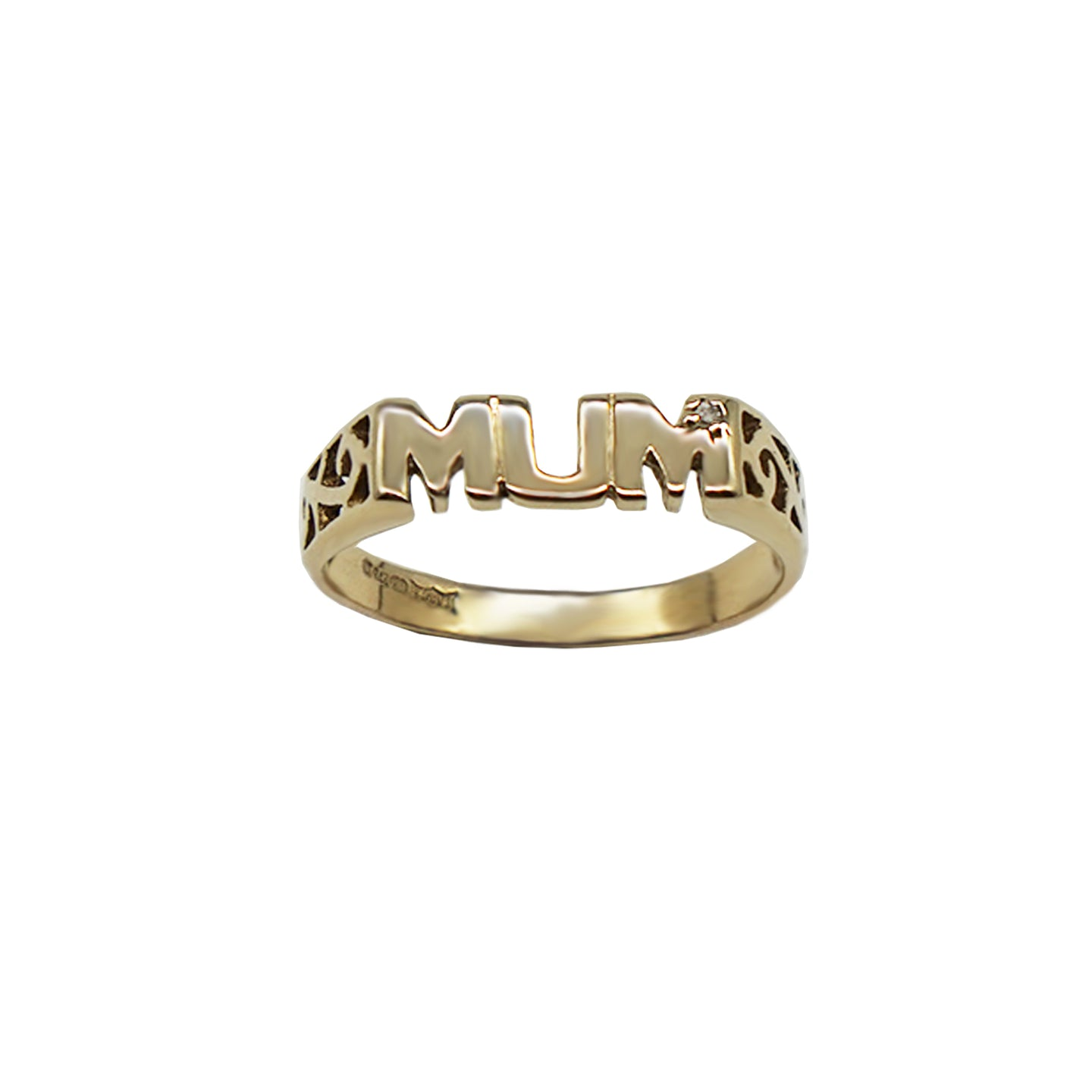 Vintage Mum Ring with small Diamond and trellis sides, hallmarks on inner band. White background.