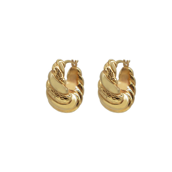 Pair of Vintage 9K Gold Ribbed Hollow Hoop Earrings with latch closure, white background.