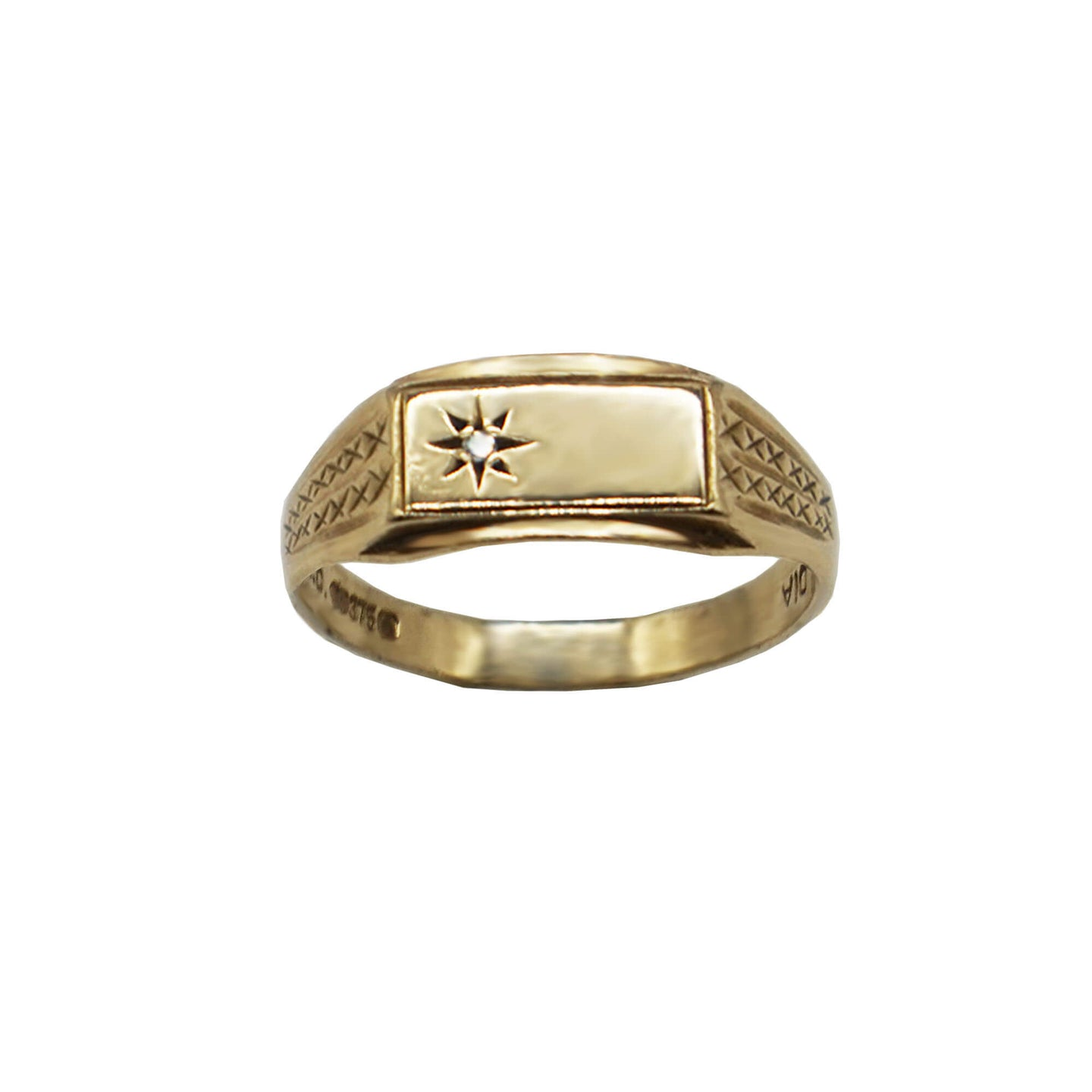 Vintage 9K Gold Diamond Starburst Set Slim rectangle signet ring with kiss/ cross small etchings on the sides. White background.