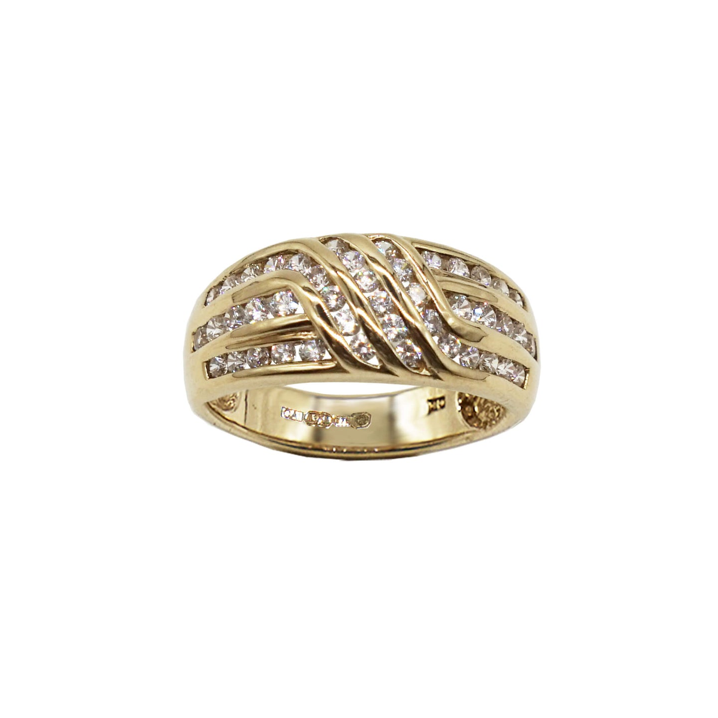 Vintage 9K Gold Ring- Swirl bar design with clear stone set. White background.