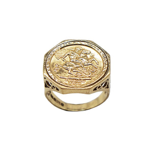 Side view of octagon shaped face Vintage 9K Gold St. George Sovereign Stle/ Media Ring. Side profile is caged design, hallmarks can be seen on inner band.