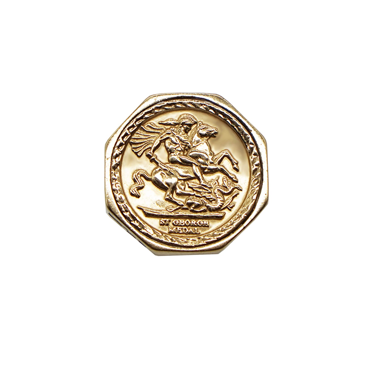 Close up of the face of the ring- Octagon shaped Vintage 9K Gold St.George Sovereign Style ring, on the face it reads 'St George Medal'. White background