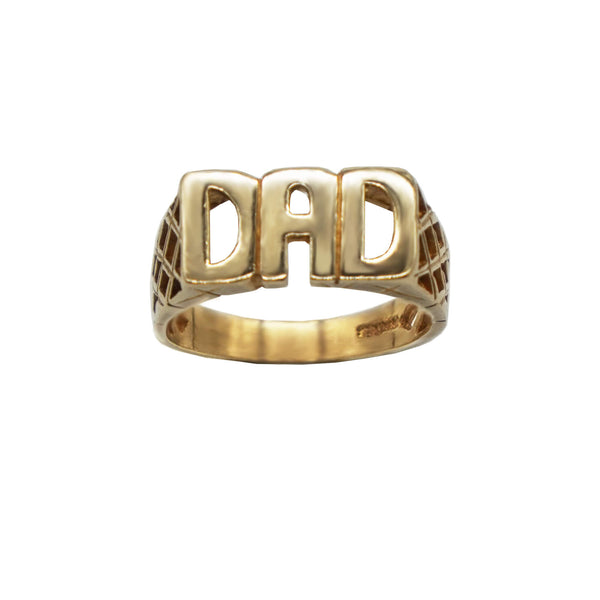 Vintage 9K Gold Dad Ring with Lattice detail sides, on a white background,