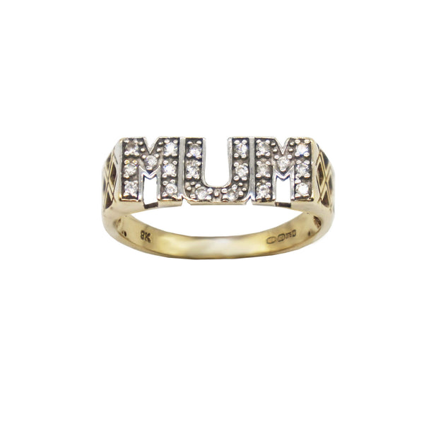 Vintage MUM ring with cubic zirconia stones and lattice side- hallmarks visible.
