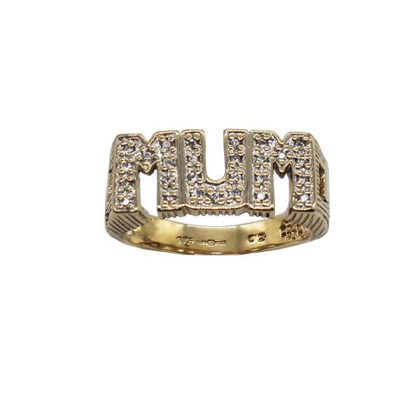 Vintage Pave Mum Ring- in capital letters