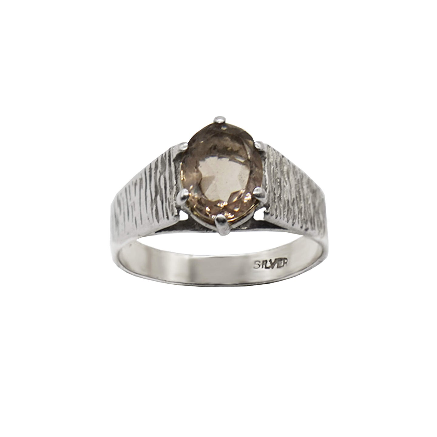 Close up Vintage Sterling Silver Smoky Quartz Oval Stone Ring with ridged band, hallmarked Silver, white background.