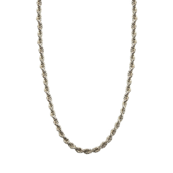 Close up Vintage Sterling Silver Rope Chain Necklace on white background