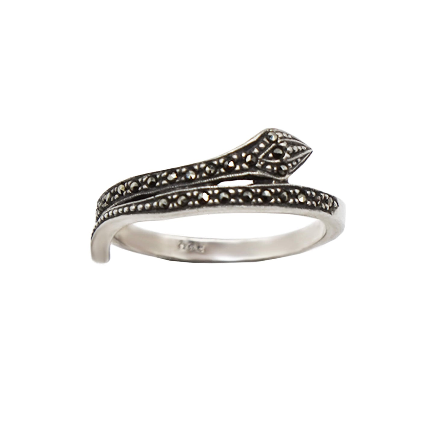 Close up Vintage Sterling Silver Snake Ring with marcasite stones, white background.