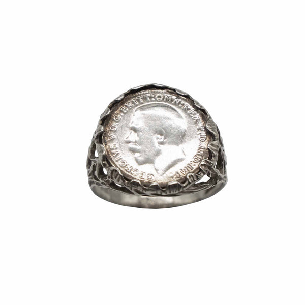 Vintage Sterling Sliver Coin Ring with George V Coin, Decorative shank.