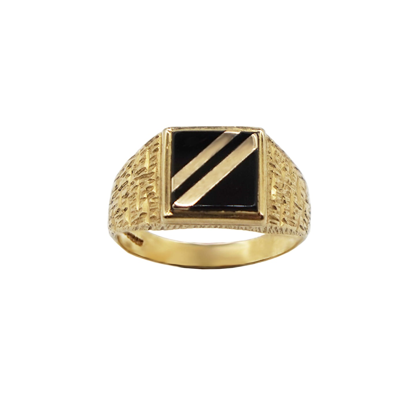 Close Up Vintage 9K Gold Onyx Square face Signet Ring. Black Square Onyx has two gold stripes going diagonally across the centre of the ring. The band is textured and hallmarks can be seen on the inside. Background is white.