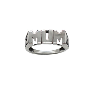 Vintage Sterling Silver Mum Ring with trellis sides. Letters in Capitals, white background.