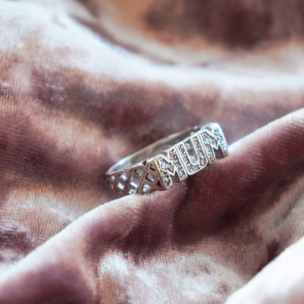 VINTAGE STERLING SILVER PAVE MUM RING