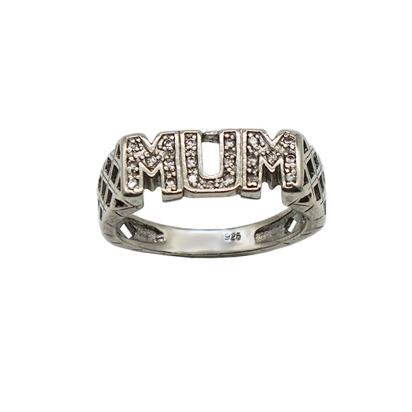 Vintage Sterling Silver Pave Mum Ring- with Cubic Zirconia Stones, hallmark seen on inner band. White background.