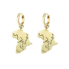Load image into Gallery viewer, Close up product shoot pair pawnshop gold plated sterling silver africa charm hoop earrings. On white background.