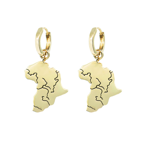 Close up product shoot pair pawnshop gold plated sterling silver africa charm hoop earrings. On white background.