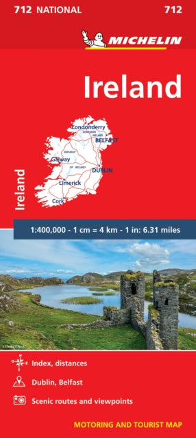 Ireland - Michelin National Map 712 : Map-9782067227644