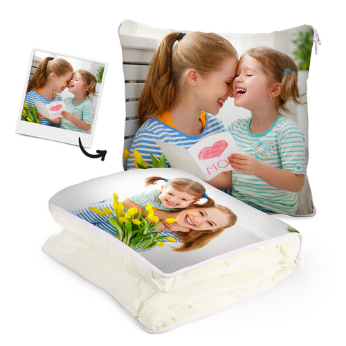 Custom Mother and Daughter Photo Quillow - Multifunctional Throw Pillow and Quilt 2 in 1 - 47.25