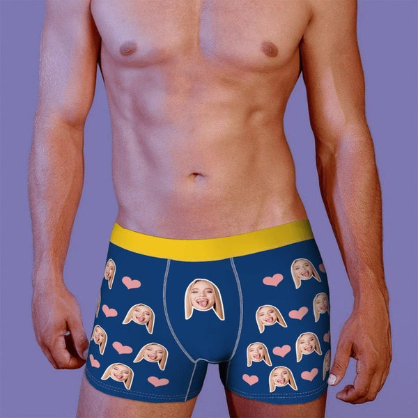 Custom Men Face Boxer Heart And Face On Boxer Shorts